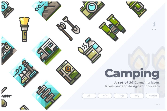 Thumbnail for 30 Camping and Backpacker Icons