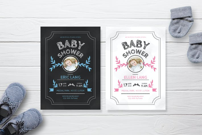 Blackboard and Whiteboard - Baby Shower Invitation
