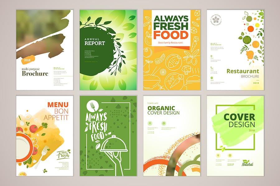 Set of restaurant brochure and menu templates