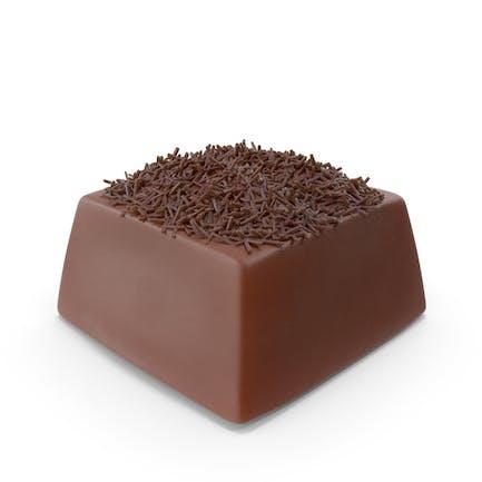 Quadratische Schokoladensüßigkeit mit Scho