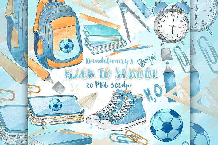 Thumbnail for Back to School Boys digital cliparts