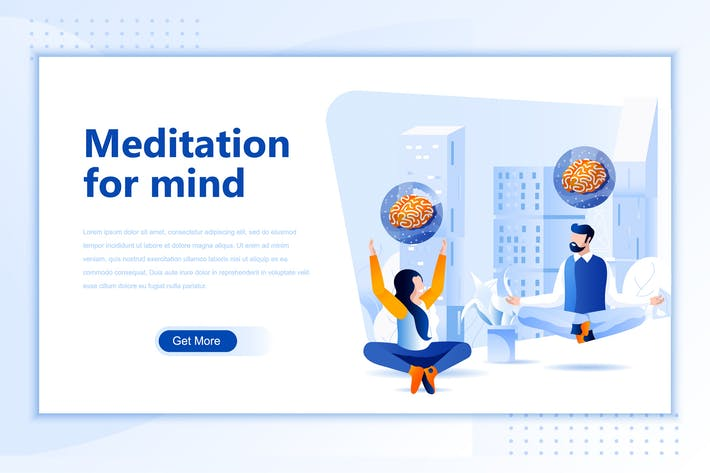 Thumbnail for Meditation Mind Flat Landing Page Header