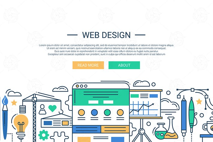 Thumbnail for Illustration of modern flat design composition