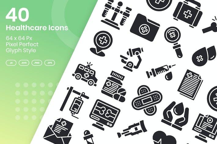 40 Gesundheitswesen Icons Set - Glyphe