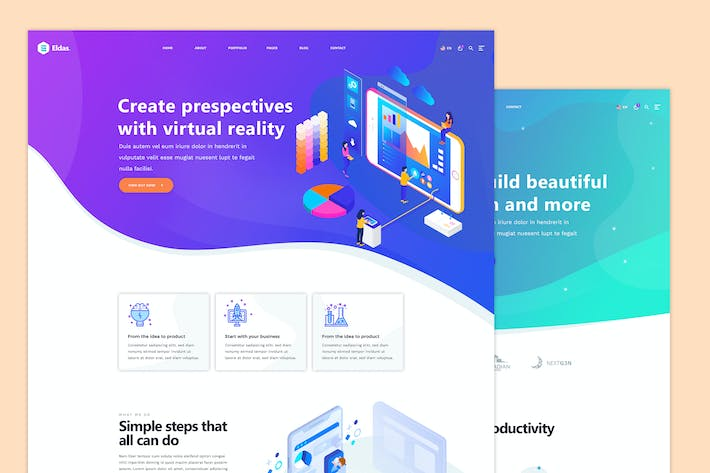 Thumbnail for Eldas - Isometric Portfolio PSD Template