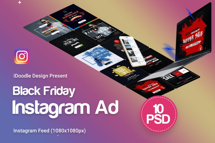 Thumbnail for Black Friday Instagram Banners Ads - 10PSD