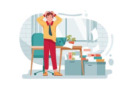 Hombre estresado con portátil en la oficina