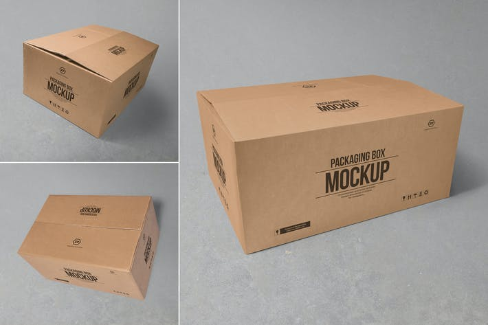 Cover Image For 3 cardboard box mockups
