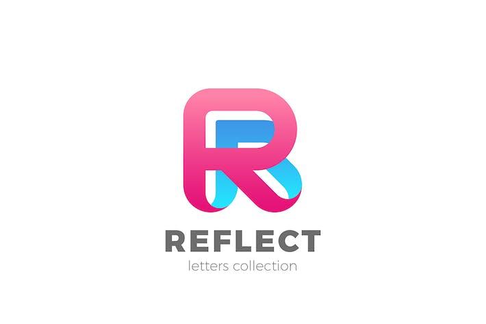 Thumbnail for Letter R Logo design 3D Ribbon style
