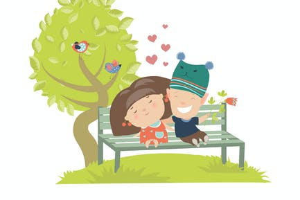 Couple teenagers sitting on the bench. vector