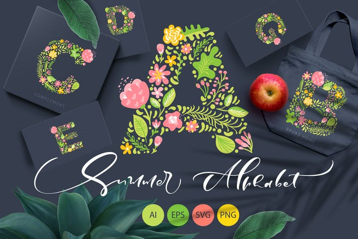 Thumbnail for Hand Drawn Summer Flower Alphabet SVG
