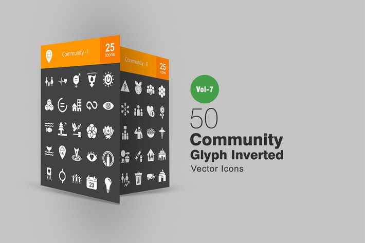 Thumbnail for 50 Community Glyph Inverted Icons