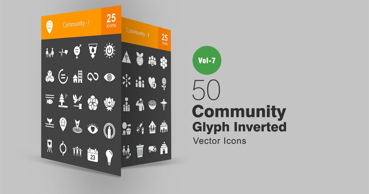 Download 50 Community Glyph Inverted Icons by IconBunny