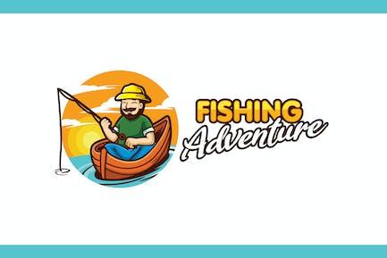 Cartoon Fishing Character Mascot Logo