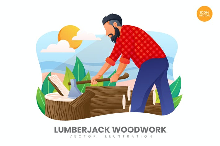 Thumbnail for Lumberjack Woodwork Vector Illustration Concept