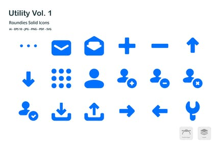 Utility Roundies Solid Glyph Icons