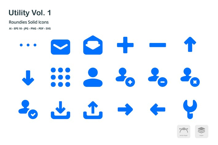 Thumbnail for Utility Roundies Solid Glyph Icons