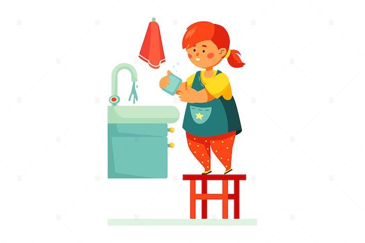 Girl Washing Her Hands - Colorful Illustration