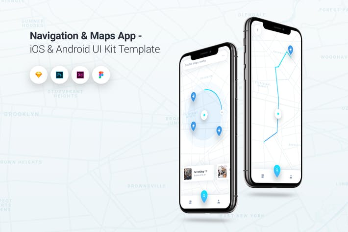 Thumbnail for Navigation & Map App iOS & Android UI Kit Template