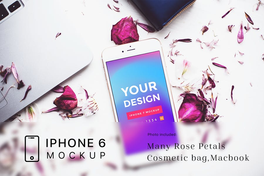 Rose-Petals-with-iPhone-6-Mockup