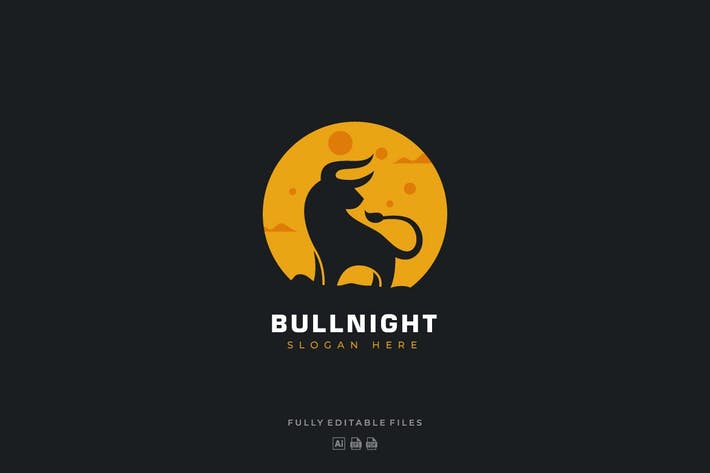 Thumbnail for Bull and Moon Logo Template