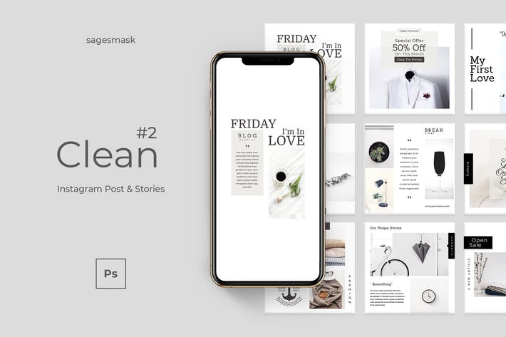Thumbnail for Clean 2 Instagram Post & Stories