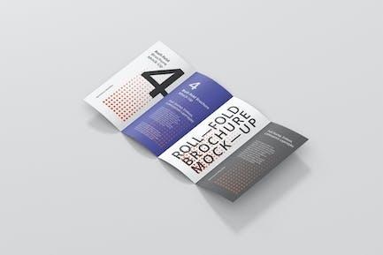 Roll-Fold Brochure Mockup - DL DIN Lang