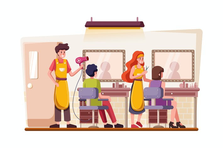 Hair salon building and interior with customer