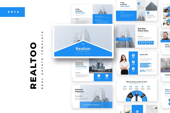 Thumbnail for Realtoo Real Estate PowerPoint Template