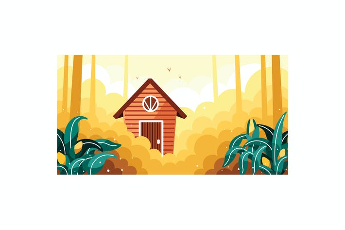 Thumbnail for Simple cornfields and small house illustration