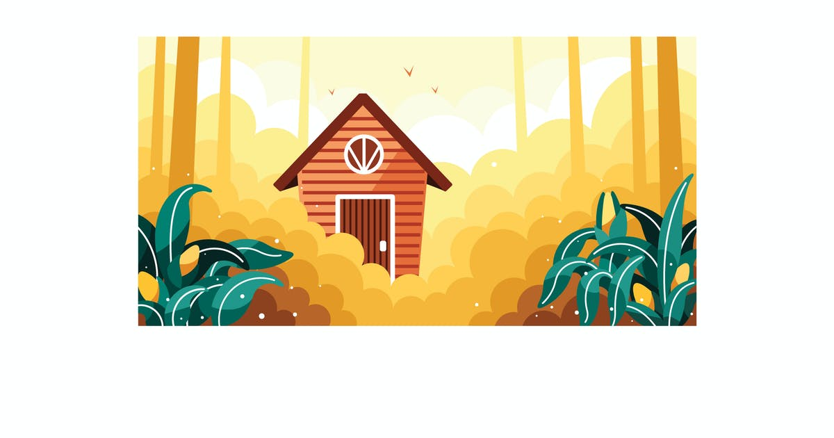 Download Simple cornfields and small house illustration by IanMikraz