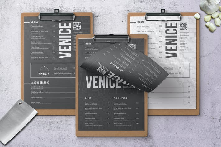 Thumbnail for Venice Menu - A4 & US Letter - 2 Color Versions