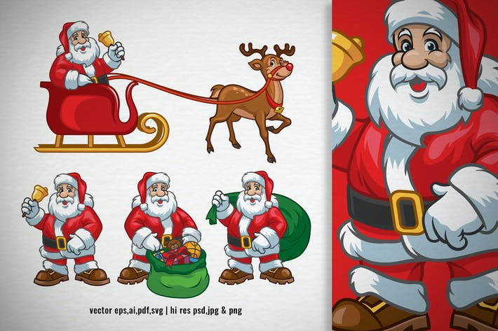 Thumbnail for set cartoon of santa claus character