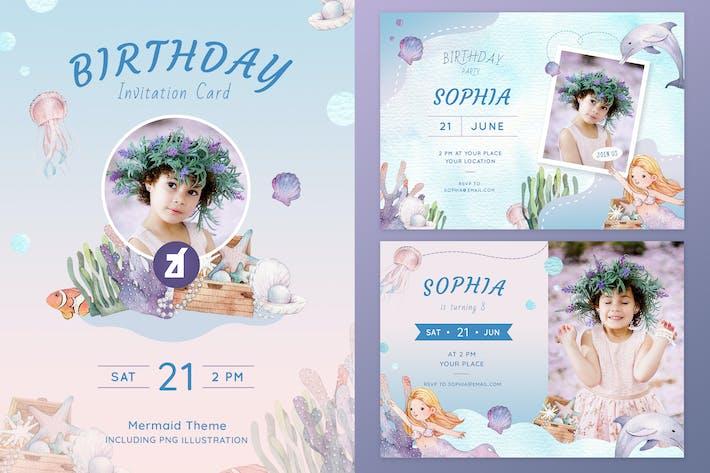 Thumbnail for Mermaid theme birthday invitation card V2