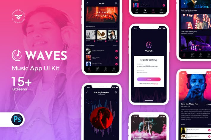 Thumbnail for Waves: Music Mobile App UI Kit