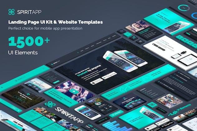 SpiritApp Landing Page UI Kit (Dark Style)