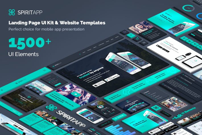 Thumbnail for SpiritApp Landing Page UI Kit (Dark Style)