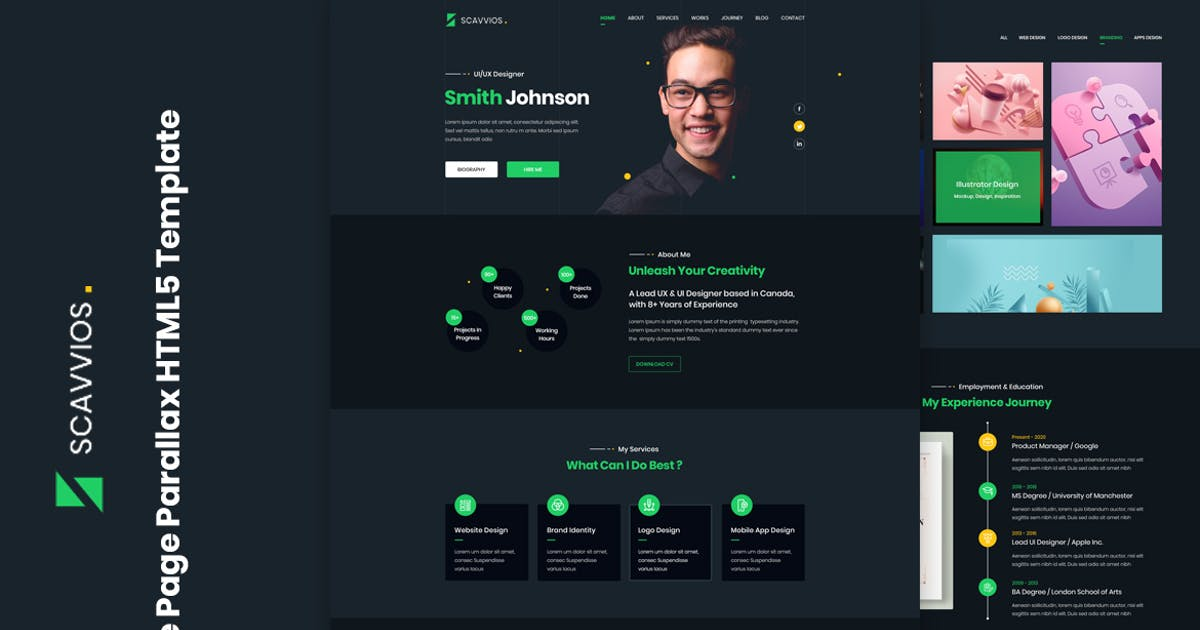 Download Scavvios   One Page Parallax HTML5 Template by htmlbeans