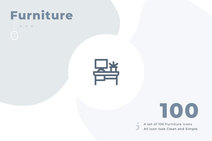 Cover Image For 100 Furniture and Household icon set - Material
