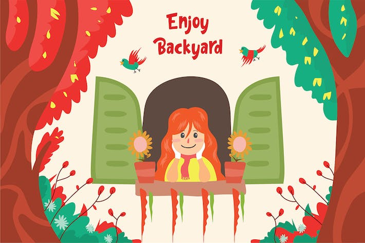 Thumbnail for Backyard girl - Vector Illustration