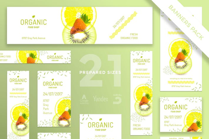 Organic Food Banner Pack Template