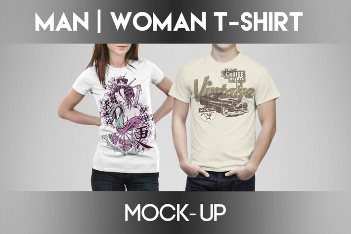 Thumbnail for Man / Woman T-shirt Mock-Up
