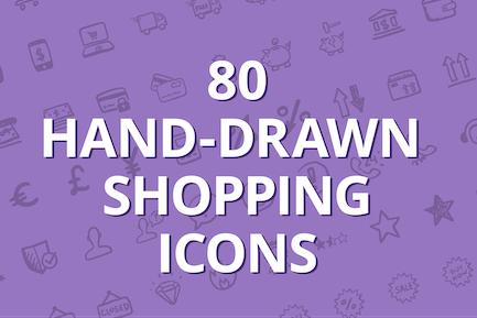80 hand-drawn shopping icons