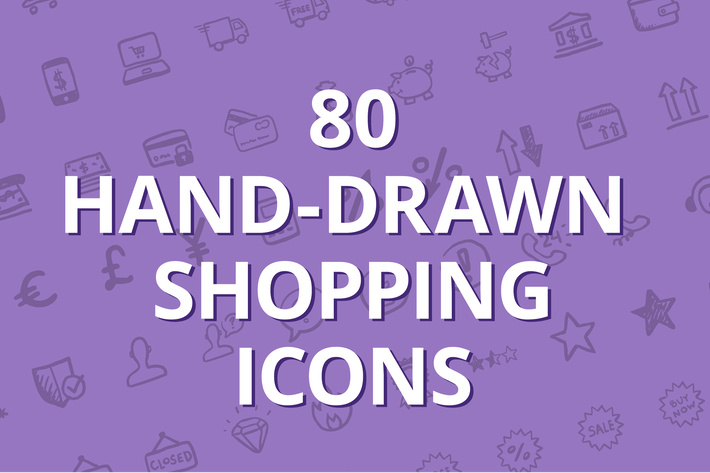Thumbnail for 80 hand-drawn shopping icons