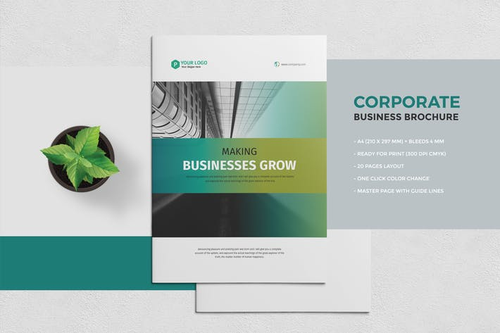 Cover Image For Corporate Business Brochure 20 Pages
