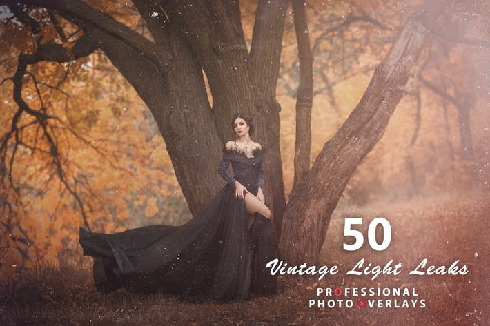 Thumbnail for 50 Vintage Light Leaks Photo Overlays