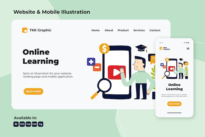 Thumbnail for Online Learning Education Web und Mobile