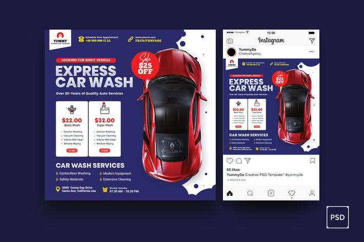 Car Repair Services Square Flyer & Instagram Post