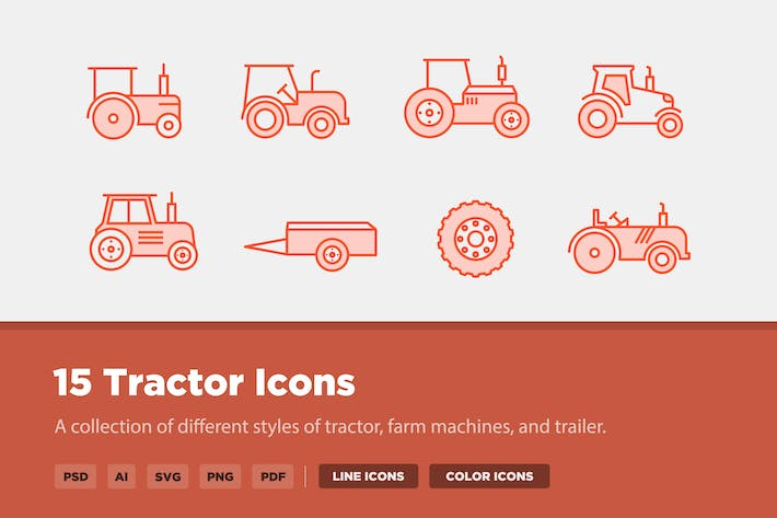 Cover Image For 15 Tractor Icons