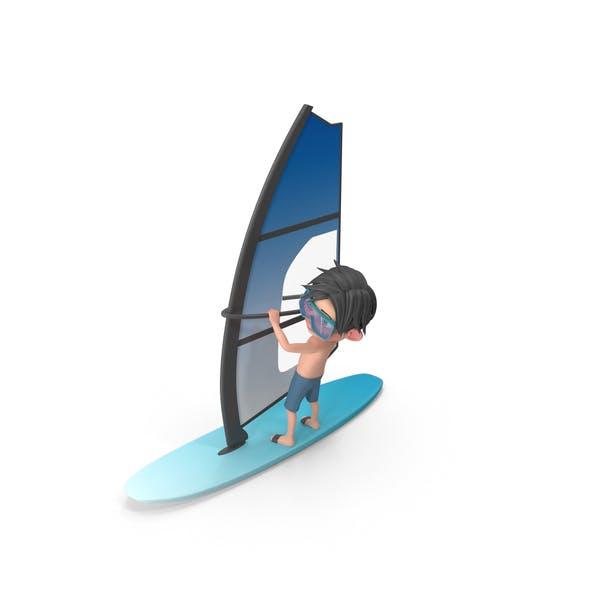 Cartoon Boy Jack Windsurfing